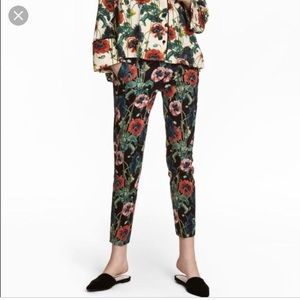 H&M Cigarette trousers. Floral with poppies 16